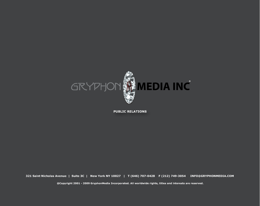 @Copyright 2001 - 2009 GryphonMedia Incorporated.